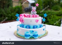 Excellent Picture of Twin Birthday Cakes . Twin Birthday Cakes Birthday Cake Ba Boy Girl Twins Stock Photo Edit Now 432272341 1st Birthday Cake Designs, Boys 18th Birthday Cake, One Year Birthday Cake, Twin Birthday Cakes, Birthday Cake With Photo, Birthday Cake Pictures, Birthday Cake Decorating, Birthday Cake Toppers, Diy Birthday