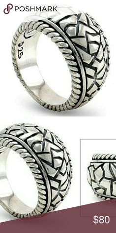"Men's Sterling Silver ""Labyrinth"" Crafted and finished by hand by Bali Artisan Putu Gede Darmawan.  Puzzle of geometric shapes in  .925 Sterling.  Size 10  Comes with gift box. Bali Artisan Accessories Jewelry"