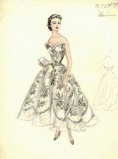 Sketches of Dior dress