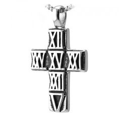 Stainless Steel Roman engraved Cross Pendant