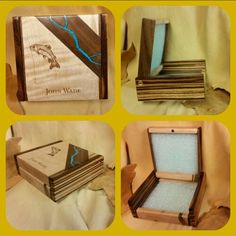 """Fathers day fly box made of Ambrosia  Curley Maple with African Zebra Wood end caps.  Is accented  with Black Walnut and Turquoise Inlay and Laser engraved.  Measures approx  5 1/2"""" × 5"""" ×2"""" deep.   Wooden Creations by Nile Shirley."""