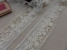 by the yard 3//8 inch French Cotton Dot Flower Border Heirloom Lace IVORY
