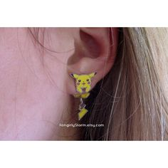 Pikachu Pokemon Clinging earrings Handmade kawaii gamer two part front and back post earrings found on Polyvore