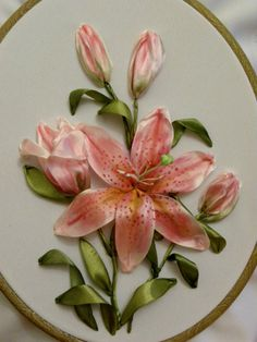 Orange lilies #ribbonEmbroidery ___ OH, I DO LOVE THIS ONE!