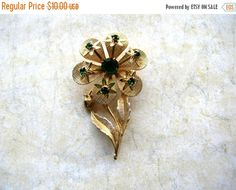 Clearance Sale Emerald Green Rhinestone Brooch - Flower Brooch by BohemianGypsyCaravan