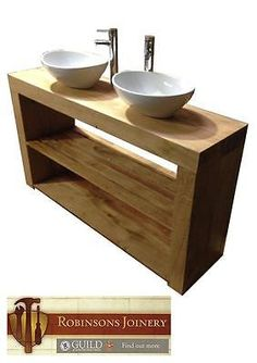 Vanity Unit Wash Stand Sink Basin Flush Ends Solid Oak Bespoke Rustic Finish