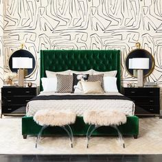 "2,386 Likes, 82 Comments - High Fashion Home (@highfashionhome) on Instagram: """"Give me songs to sing and emerald dreams to dream..."" - Jim Morrison. Our Amelia Bed in Vance…"""