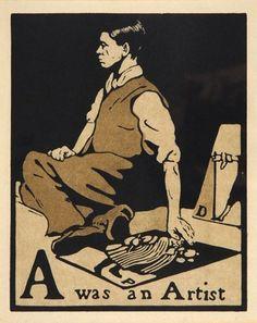 From An Illustrated Alphabet, woodcut print, ca. 1898 by William Nicholson. Nicholson portrayed himself as pavement artist. William Nicholson, Woodcut Art, Wood Engraving, Woodblock Print, Artist Art, Graphic Illustration, Illustrations Posters, Illustrators, Drawings