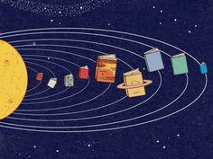 Книжная вселенная Books, planets in the universe / Libros, planetas del universo (ilustración de Harriet Russell)