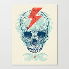 Skull Bolt Stretched Canvas by Rachel Caldwell - $85.00