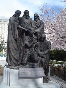 Bronze statue on the LDS Church's Temple Square (Salt Lake City, Utah, USA) depicting Peter, James, and John conferring the Melchizedek priesthood in 1829 on Joseph Smith and Oliver Cowdery Joseph Smith, Melchizedek Priesthood, Capital B, Temple Square, Church History, Lds Church, Children Images, Latter Day Saints, Wood Sculpture