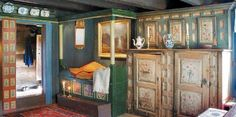 Norwegian cupboards and beds, all with rosemaling