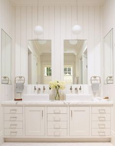 Pendant lights over vanities are a favorite of mine interiordesign marble topped vanity and recessed medicine cabinets plus modern pendants lighting provide additional light and painted aloadofball Images
