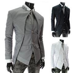 men's jacket New Brand fashion 2014 blazer men,Black/ White/Gray slim casual  Asymmetrical men Suit /coat Wholesale
