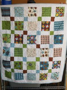 fun boys quilt- disappearing 9-patch square.