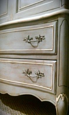 Paris Grey and Old White Annie Sloan Chalk Paint.  Love this color. by elva