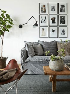 Flowers For Home Decoration Decor, Living Dining Room, Room Inspiration, Home And Living, Grey Linen Sofa, Interior Design, Home Decor, House Interior, Room Decor