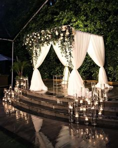 Rustic indoor candles and greenery wedding ceremony Garden Wedding Decor Wedding Goals, Wedding Themes, Wedding Designs, Wedding Colors, Wedding Planning, Indoor Wedding Decorations, Wedding Parties, Wedding Cakes, Wedding Ceremony