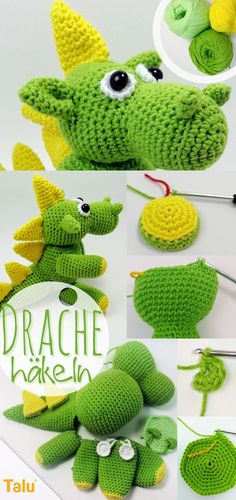 Drache häkeln – Kostenlose Amigurumi Häkelanleitung crochet Amigurumi Crochet Dragon Chico Free Pattern HEAD The hook is used In Lemon Green Row ring Row increases Row 3 . Crochet Bear, Crochet Patterns Amigurumi, Amigurumi Doll, Crochet Toys, Free Crochet, Dragon En Crochet, Mandala Au Crochet, Sewing Patterns Free, Knitting Patterns