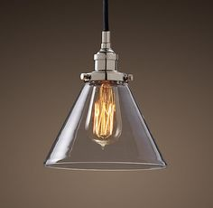 Glass Funnel Filament Pendant Polished Nickel. Also in black steel with brass. Nice and simple.