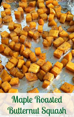 With just the right amount of sweetness thismaple roasted butternut squash pairs well with any meal or can be eaten by itself even as a snack!