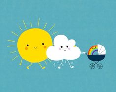 So cute for a baby's room! The weather family Art Print by Jean-Sébastien Deheeger Illustration Mignonne, Funny Illustration, Family Illustration, Landscape Illustration, Art Mignon, Cute Puns, Family Print, Humor Grafico, Rainbow Baby