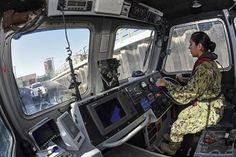 Navy Petty Officer 2nd Class Brianna Caballero maneuvers a harbor patrol boat to load it onto a trailer for maintenance on Naval Support Activity Bahrain, January 6, 2016. (Navy photo by Petty Officer 1st Class Gary Granger Jr.)  via @AOL_Lifestyle Read more: https://www.aol.com/article/news/2017/03/02/trump-points-to-job-creation-as-new-reason-for-military-buildup/21872268/?a_dgi=aolshare_pinterest#fullscreen