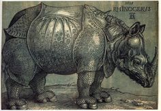 Durer's Rhinocerous from 1515  this is a 2 color woodcut print