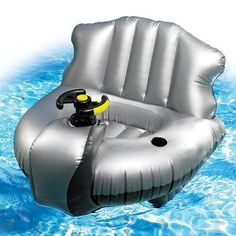 These $ 99 inflatable bumper boats have a tiny safe quiet motor underneath and an easy to use steering wheel. They can hold up to 200 lbs, fold up compactly and run on 6 D batteries. How much fun do these look like they'd be?! Definitely a must have for your backyard pool or lake trip this summer! Your own backyard with your own bumper cars for the pool with Excalibur Motorized Bumper Boats!