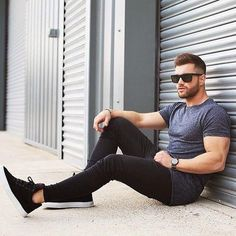 Plain Grey Tshirt styled with Black Jeans and Black Sneakers
