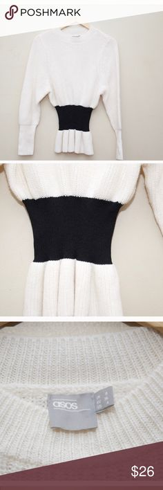 """ASOS White and Black Cinched Waist Sweater Size 4. Length: 24"""". Sleeve length: 24"""". Bust: 15"""". 78% acrylic, 12% wool and 10% cotton. Excellent condition! Asos Sweaters Crew & Scoop Necks"""
