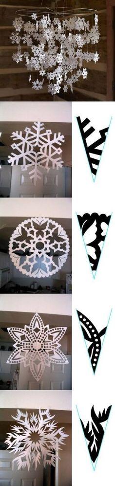 Easy Paper Snowflake Patterns   DIY Snowflake Paper Pattern DIY Snowflake Paper Pattern by diyforever