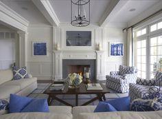 Crisp blue and white living room
