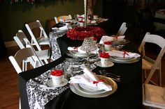 Perfect serpentine table for a Valentine's Day Party!