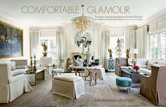 Traditional with a twist! Love the French influence and especially the turquoise ottoman.