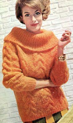 Ladies' 1960s Retro Cowl-neck Pullover PDF KNITTING by KnitsPasse