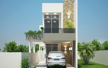 Projects of houses with 6 meters of front Minimalist House Design, Minimalist Home, Modern House Design, Narrow House Plans, Modern House Plans, Style At Home, Small Modern Home, House Front Design, Tiny House Cabin