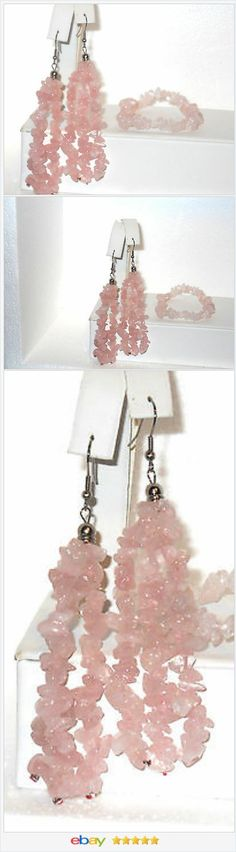 Pink Rose Quartz Bracelet Earrings set Steel Hooks VALENTINES DAY #EBAY http://stores.ebay.com/JEWELRY-AND-GIFTS-BY-ALICE-AND-ANN