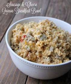 Sausage and Cheese Quinoa Breakfast Bowl 378 calories. This breakfast recipe is delicious and can be prepared ahead of time for a quick healthy make-ahead breakfast.