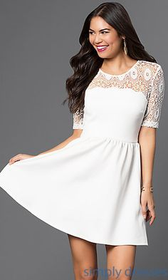 Short Dress with Elbow Length Lace Sleeves