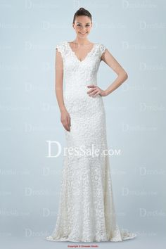 Mesmerizing Lace Covered Column Bridal Gown Featuring V-neck and V-back Design
