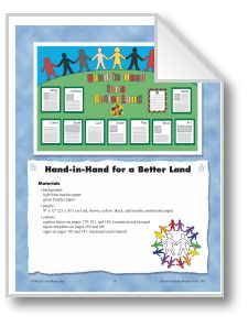 Hand-in-Hand for a Better Land (Bulletin Board): Free download! This bulletin board unit includes: teacher directions, suggestions for student writing, captions, figure templates, and signs.