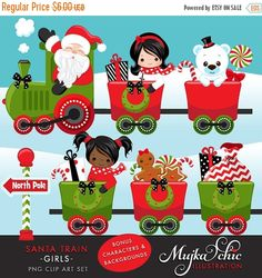 Christmas Santa Train Girls Clipart Amazing Santa Train set filled with characters and Christmas gifts, ornaments. Santa being the Train conductor, this set has 5 different girl characters, train carts with Christmas trees, gift boxes and bags, North Pole signs, Train tracks, Rudolph the reindeer clipart. Santa Polar express! Perfect for invitations, party printables and embroidery.  Set also includes 3 (7X5) snow backgrounds with rail tracks for you to create your own Santa Train for party…