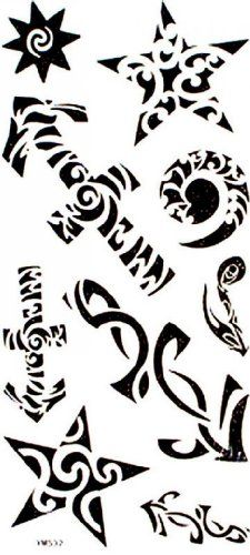 "Tattoo size 7.28""x3.54"" Fashion design non-toxic and waterproof realistic temporary tattoo stickers sexy seductive star totem. Safe and non-toxic design ideal for body art. Professional grade made to last 3 to 5 days and easily transferred by water. Perfect for vacations, girls night, pool parties, bachelorette parties, or any other event you want to look glamorous."