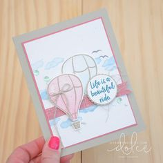 Hot air balloons with Above the Clouds - Stampin' Dolce by Krista Frattin Stampin Up Catalog, Above The Clouds, Beautiful Handmade Cards, Stamping Up Cards, Hot Air Balloon, Baby Cards, Creative Cards, Cardmaking, Birthday Cards