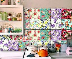 Floral tile mix display by Bleu Coin