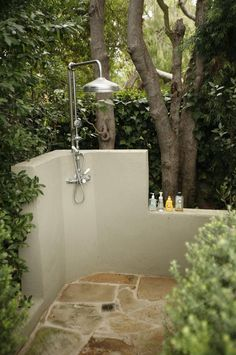 Thermostatic outdoor shower