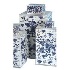 Blue, White Ming Fu Dog Covered Jar Large Tozai Home Jars, Urns & Pots Decorative Accessor - I like the size and shape
