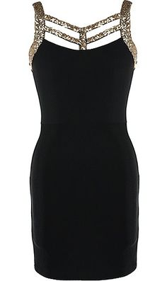 Party Circuit Dress: Features a glittering gold strappy decolletage, luxe sequin straps to the backside, centered rear zip closure, and a sexy body-conscious silhouette to finish.