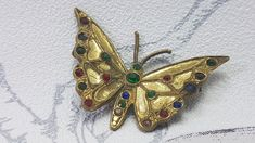 Vintage butterfly brooch, rhinestone butterfly brooch, Art Deco brooch, antique gilt metal butterfly pin, unique vintage gifts for her  #vintagebutterlybrooch #artdecobrooch #antiquebrooch